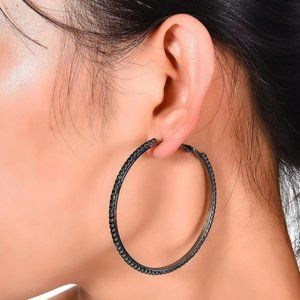 *Black Gold Black Sapphire 2.25'' Hoop Earrings